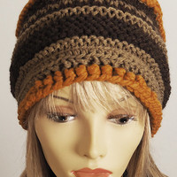 Tan hat - Knit beanie - Handmade hat - Hand knit hat - Chunky knit hat - Crochet cap - Teen girl hat - Womans winter hat - Fall accessories