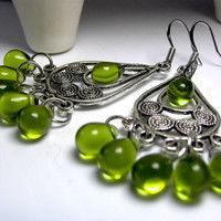 Chandelier Earrings Boho Chandeliers Green Glass by LocaDesign