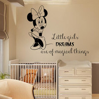 Wall Decals Mouse Quote Little Girls Dreams Are Of Magical Things Cartoon Decal Home Vinyl Decal Sticker Kids Nursery Baby Room Decor kk310