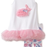 Mud Pie Baby-girls Infant Bunny Tunic and Legging Set, Pink/White, 12-18 Months