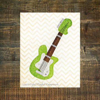 green guitar art, little boys room decor, art for kids room, teen boy room, 8x10 nursery print, baby boy nursery ideas, playroom art