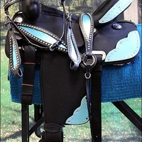 HILASON WESTERN CORDURA TRAIL PLEASURE SADDLE W/ HEADSTALL BREAST COLLAR BLANKET Western Trail Riding & Pleasure Saddle: GROUP002-HSCS801