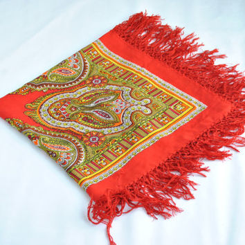 Vintage Russian Scarf  Ukrainian shawl Babushka Russian Shawl Floral scarf infinity beautiful Shawl Red shawl Sale