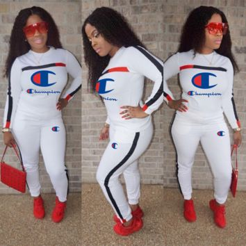 Champion embroidery letter tri-color stitching suit