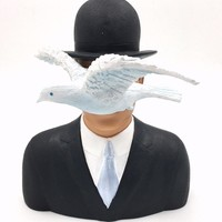 Magritte Man with Bowler Hat and Dove l'homme au chapeau melon Statue 6H