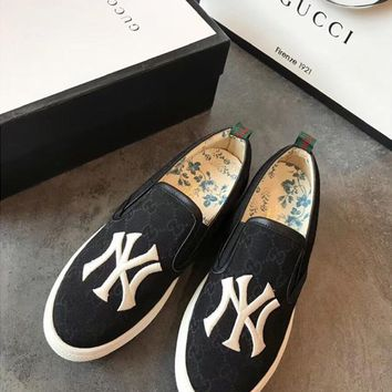 Gucci Embroidery Ny Gg Canvas Loafers Casual Shoes #1185