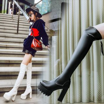 Round Toe Platform High Chunky Heels Over-knee Long Boots