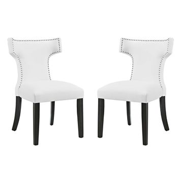 Curve Dining Side Chair Faux Leather Set of 2