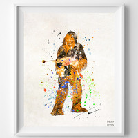 Star Wars Print, Chewbacca, Star Wars Watercolor, Sci Fi, Poster, Wall Art, Home Decor, Movie Poster, Fathers Day Gift