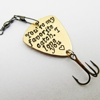 Personalized fishing lure, fisherman gift, My Best Catch, Hand Stamped gift, Fishing Accessories, Spinner Bait, Father's Day, Anniversary