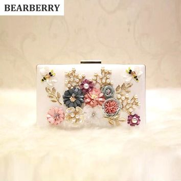 BEARBERRY 2017  fashion women handmade clutch purse 3D flower leather party bags brand dinner clutch wallets drop shipping MN265