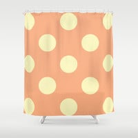 Vintage Cream and Salmon Polka Dots Shower Curtain by Kat Mun