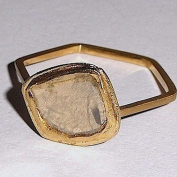 Fine Jewelry Ring Gold Stacking In 18 kt. With Bezel Set Diamond Slice And Hex Band