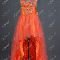 Asymmetric Front Short Back Long Orange Handmade Beads  A Line Prom Dress Sweetheart Satin Bow Evening Gown Strapless Ruching Party Dress