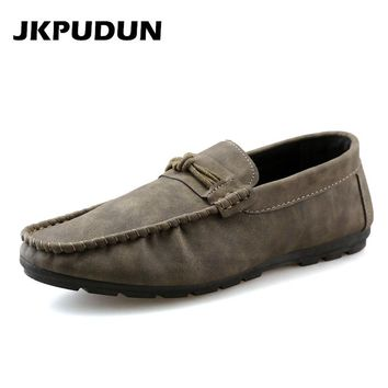 JKPUDUN Italian Fashion Man Penny Loafers Driving Shoes Designer Men's Casual Boat Shoes Slipon Moccasins Gray Flats Zapato skor