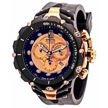 Invicta 14418 Men's Jason Taylor Reserve Rose Gold Dial Black Bezel Black Rubber Strap Chronograph Dive Watch