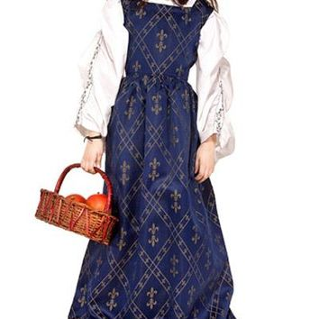 Navy or Burgundy with Gold Patterned Victorian Childrens Steampunk Girls Dress