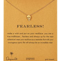 14K Gold Plated Sterling Silver Fearless Heart Skull Necklace