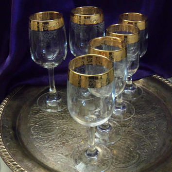 Cellini Gold Rimmed Wine Goblets, 22 kt Embossed & Etched Italy Crystal, Four Long Stemmed Wine + Two Water Goblets, Vintage Elegant Barware