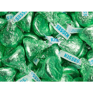 Hershey's Kisses Light Green Foiled Milk Chocolate Candy: 4LB Bag