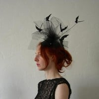 Leather bat and star speckled net Halloween Fascinator - To order