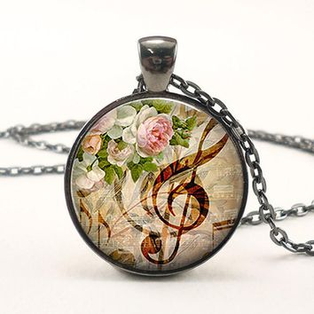 Retro Music & Roses Treble Musical Note Pendant Glass Dome