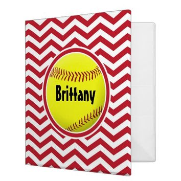 Cute Red Softball Custom Three Ring Binder