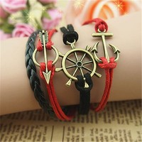 Helm Anchor Arrow 4 Layers Black and Red Handmade MultiLayered Bracelet BDP0529