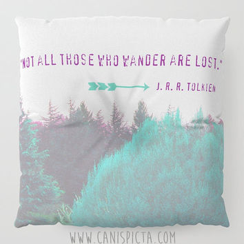 J.R.R. Tolkien Quote Dreamland Forest Graphic Print Decorative Floor Pillow Cover Not All Who Wander Are Lost LOTR Fuchsia Teal Purple Decor