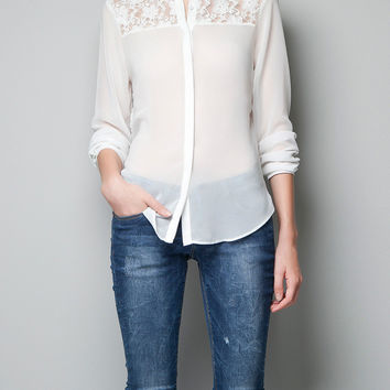 Long Sleeve Pointed Flat Collar Lace Accent Chiffon Blouse