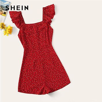 SHEIN Red Ruffle Trim Floral Romper Womens Wide Leg Mid Waist Playsuit Summer Solid Highstreet Party Sleeveless Playsuit