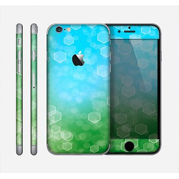 The Abstract Shaped Sparkle Unfocused Blue & Green Skin for the Apple iPhone 6