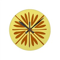 Yellow and Brown Folk Flower Minimal Abstract Round Clock