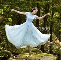 short sleeve ruffles light blue chiffon long medieval dress Renaissance lace Gow