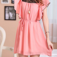 Scoop Neck Ruffled Chiffon Sleeve Mini Dress