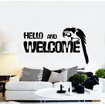 Vinyl Wall Decal Bird Parrot Hello And Welcome Home Decor Stickers Mural (g1023)