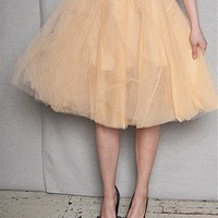 KToo USA Layered Tulle Midi Skirt - Nude