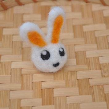 Poof Ball Bunny - Needle Felted Kawaii Bunny, Felted Ball Animal, Desk Toy Gentle Play