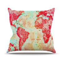 "Alison Coxon ""Oh The Places We'll Go"" World Map Outdoor Throw Pillow"