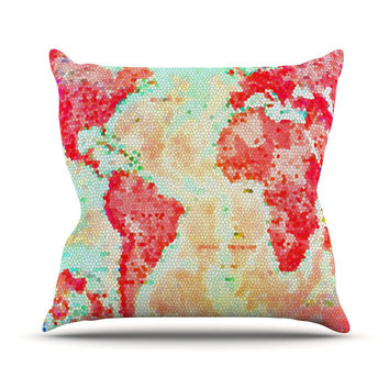 "Alison Coxon ""Oh The Places We'll Go"" World Map Throw Pillow"