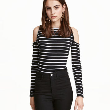 H&M Ribbed Open-shoulder Top $14.99