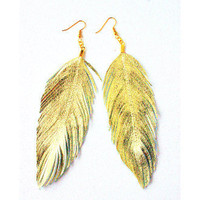 Gold Lambskin Leather Earrings