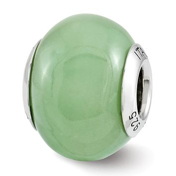 Green Glow in the Dark Italian Glass & Sterling Silver Bead Charm