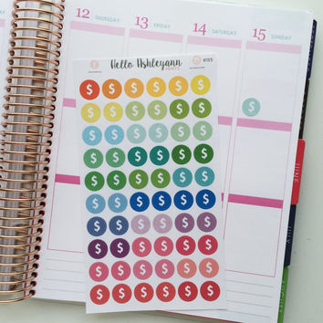 60 Rainbow Money Planner Stickers - #155