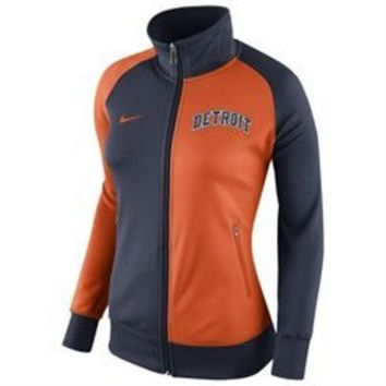 ESBON MLB Nike Detroit Tigers Ladies Cooperstown Track Jacket-Blue/Orange