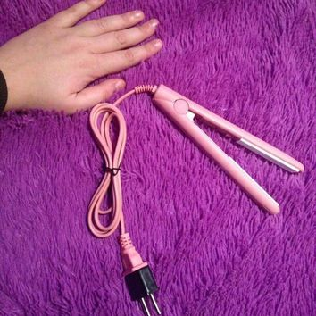 Mini Hair straightener Iron Pink Ceramic Hair Straightening Corrugate Curling Iron Styling Tools Fast Hair Starightener
