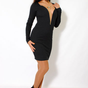 (alx) Deep plunge ribbed black dress