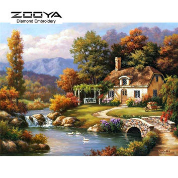5D DIY Diamond Embroidery Painting Cross Stitch Mountain Houses Home Decoration Full Mosaic Crafts 3d Kit For Needlework BJ280
