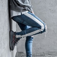 2018 New kanye  Fear of God High Street Men's Skinny Biker Jeans Holes Slim Fit Denim Pants Stylish Men's stripe Denim trousers