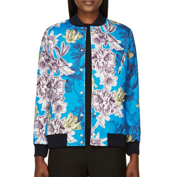 Roseanna Blue And Green Neoprene Floral Donnie Bomber Jacket